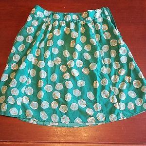 Limited a line skirt green with circle pattern